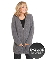 Twiggy for M&S Collection Zip Through Cardigan with Mohair