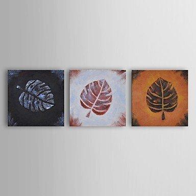 eik-pittura-a-olio-moderna-foglia-floreale-sfregamento-insieme-trio-di-3-mano-tela-con-telaio-allung
