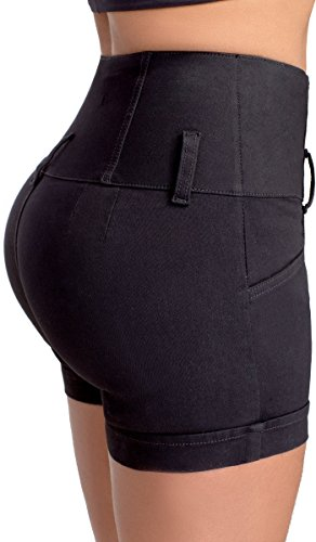 Lowla Shapewear Womens Stretch Jean Shorts Butt Lifting Shaping Tight High Waisted 238389 Shorts de Mujer Levanta Cola con Faja Black 10 (Butt Lifter Jean Shorts For Women compare prices)