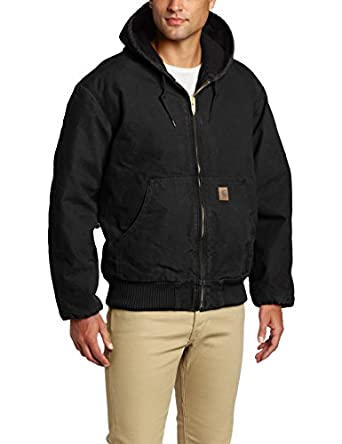 Carhartt Men's  Quilt Flannel Lined Sandstone Active Jacket,Black,Small