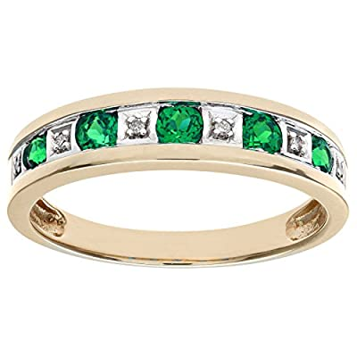 Ariel Round Brilliant Emerald and Diamonds 9ct Eternity Ring