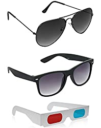 Combo of Black Wayfarer Sunglasses + Grey Aviator Sunglasses + Free 3D Glasses ( Black Sunglasses ) ( SUN6043 )