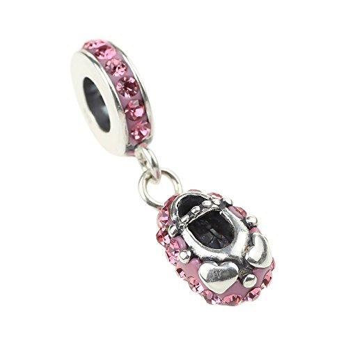 Beads Hunter-Fede in argento Sterling 925 con Charm a forma di Ballerina, colore: rosa, con pendente a forma di scarpetta di Ballerina per europea