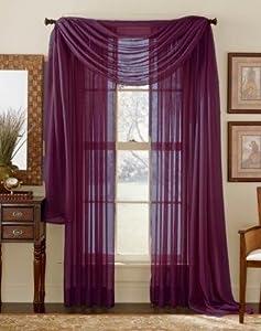 Amazoncom Plum Purple55x216 Sheer Window Scarf