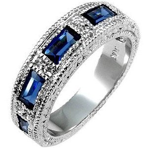 White Gold Rhodium Bonded Sapphire Eternity Band with 5 Emerald Cut Sapphire CZ in a Bezel Setting in Silvertone