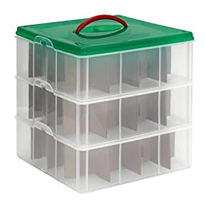 "Snapware Snap 'N Stack Oranament & Seasonal Storage, Square, 12"" x 12"" x 4"" (3 Trays per Pack)"