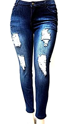 Jack David Womens Plus Size Stretch Distressed Ripped Blue Skinny Denim Jeans Pants