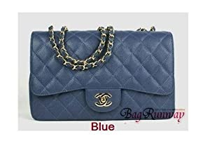 1 Piece / Hot Caviar leather Chanel 12/ 30 cm (Blue)