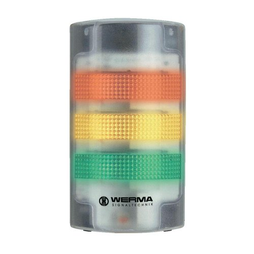Werma 691-100-55 FlatSIGN Innovative LED Signal Tower with Transparent Housing, 24VDC, Green/Yellow/Red