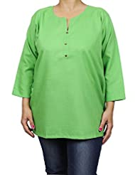 Designer Indian Kurti Tunic For Women, Green, Size XL - Luxurious Kurtis - Cotton & Viscose Tops For Women