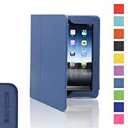 SAVEICON PU Folio Leather Case Cover with Built-in Stand for Apple iPad 1 1st Generation (iPad 1, Navy)