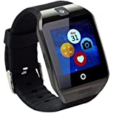 TopePop Touch Screen Smart Watch With Camera Bluetooth Wrist Watch Support SIM Card For Android Smart Phones Black