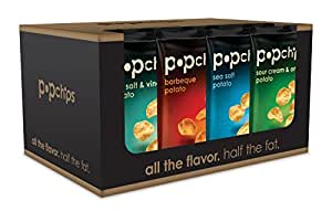 Popchips potato chips VARIETY PACK 4-flavors, share bag 3.5 Ounce (Pack of 12)