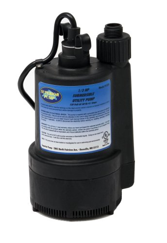 Superior Pump 91330 1/3 HP Thermoplastic Submersible Utility Pump