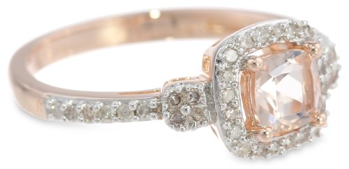 10K Rose Gold Morganite and Diamond Ring (0.2 Cttw, G-H Color, I1-I2 Clarity)