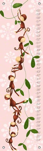 Oopsy daisy Monkeying Around Growth Chart by Meghann O'Hara, Powder Pink, 12 by 42 Inches