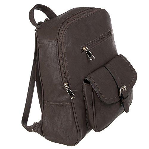 Damen Tasche, RUCKSACK, HANDTASCHE, TA-673-2, Synthetik in hochwertiger Leder Optik, Grau Braun