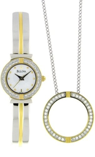 Bulova Women's 98X000 Swarovski Crystal Pendant Watch Boxed Set