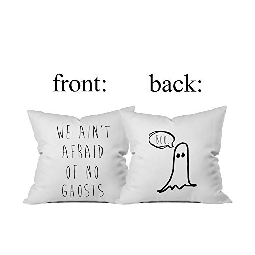Oh, Susannah Halloween BOO We Ain't Afraid of No Ghosts Throw Pillow Cover (1 18X 18 inch, Black) (Sleeping Mask Cookie Cutter compare prices)