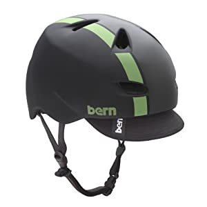 BERN Brentwood Matte Helmet with Visor (Black/Green Bomber, Medium)