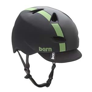 BERN Brentwood Matte Helmet with Visor (Black/Green Bomber, X-Large)