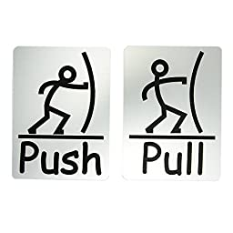 Fun Push Pull Door Sign (Brushed Silver)