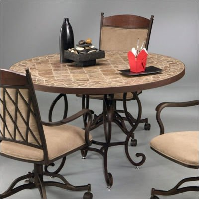 """Atrium II Dining Table with 48"""" Marble Top Base Finish: Smoke Copper, Table Style: Round Marble in Sonora Creek"""