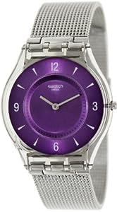 Swatch Metal Knit Purple Dial Stainless Steel Ladies Watch SFM121M