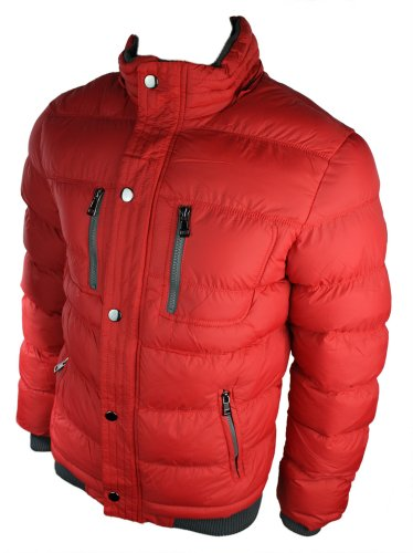 Mens Warm Winter Removable Fur Hooded Down Puffer Jacket Red Padded