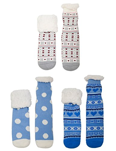 Extra Thick Fuzzy Thermal Fleece-lined Knitted Non-skid Crew Socks - 3prs, A7 (Thermal Fleece Lined Socks compare prices)