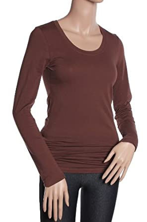 Active Basic Women's Basic Scoop Neck Tops,Small,Brown