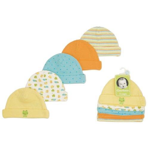 Gerber Unisex-Baby Newborn 5 Pack Cap, Multi, 0-6 Months