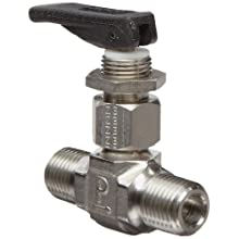 Parker VQ Series Stainless Steel 316 Toggle Valve, Inline, Toggle Handle, PTFE Stem, NPT Male