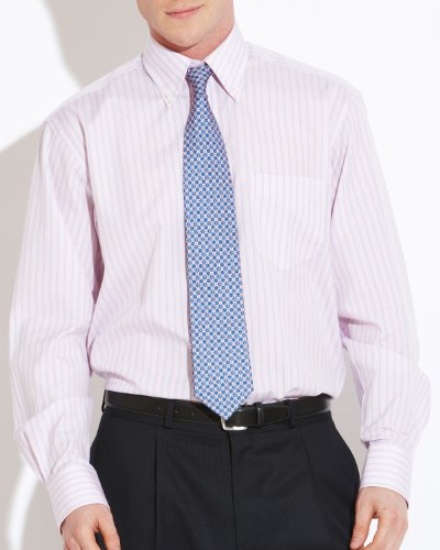 Savile Row Men's Pink Blue Stripe Buttondown Collar Classic Fit Formal Shirt Neck Size 15.5