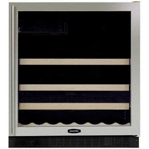 Marvel 8SBARE-BS-G-L 30-Inch Wide Beverage Center with Dual-Pane, Tinted, UV-Resistant Glass Door, Black Cabinet and Stainless Steel Door Frame