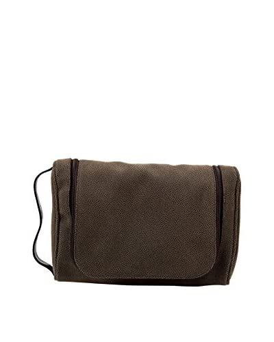 Bey-Berk Brown Leather Hanging Toiletry Bag with 5-Piece Manicure & Grooming Set