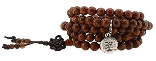 Tibetan 8mm Bodhi Prayer Beads Wrap Bracelet with Removable Charms (Circle Tree of Life)
