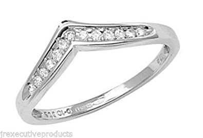9ct White Gold Channel Set Diamond Wishbone Eternity Ring 0.10ctw sizes G - W