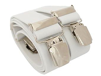 Bretelles de haute qualité pour Femmes / Hommes avec 4 XL CLIPS extra fort 3,5cm large en 10 couleur design differentes - Fabriqué en Allemagne (normla (one Size), Blanc)
