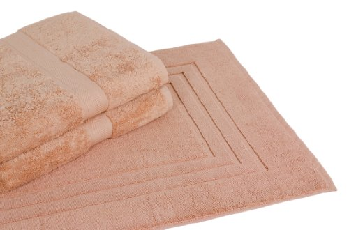 Calcot All American Cotton Line 100-Percent Supima Bath Towel/Mat Set, Champagne, 3-Piece