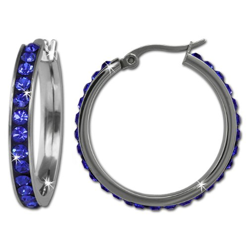 Amello Stainless steel hoop earring, with lots off blue Swarovski elements, original Amello ESOS04B