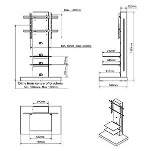Triskom MA10 TV Stand for LCD, LED or Plasma Screens 32, 37, 40, 42, 46, 47, 50, 52, 55 inch by SAMSUNG, SONY, PHILIPS, TOSHIBA, PANASONIC, LG, JVC 1325h x 540d x 780w (mm)