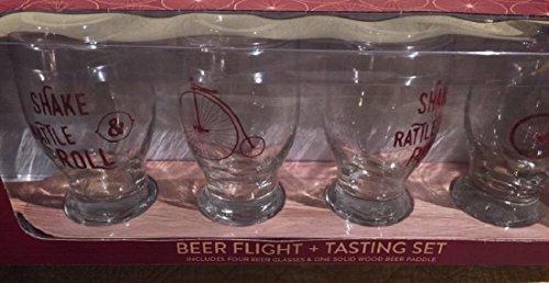 Beer Tasting Flight Clear Pilsner Glass Set With Solid Wood Beer Paddle, 4 Vintage Bicycle Motif Beer Sampler Glasses + 1 Beer Holster (Wine Themed Tray compare prices)