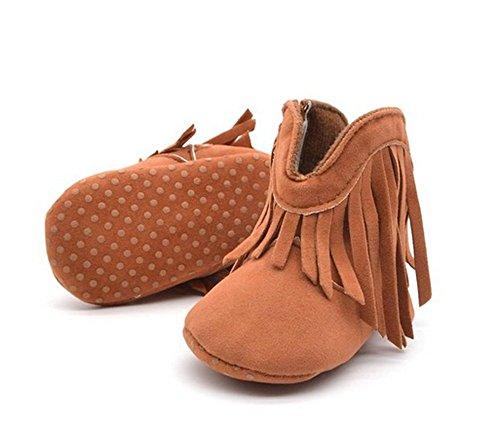 Kuner Baby Girl's Tassel Soft Bottom Non-slip Warm Boots Toddler Shoes (12 cm (6-12 Months), Brown)