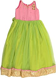 Kanchoo Girls' Long Frock (BSKF007_7-8years, Light Green & Pink, 7-8years)