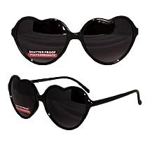 Glossy Love Heart Sunglasses Dark Lens Uv400 - Black