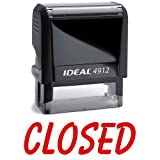 CLOSED Red Office Stock Self-Inking Rubber Stamp