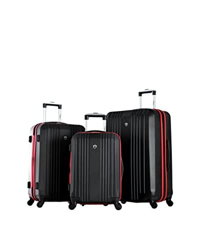 Olympia USA Apache 3-Piece Expandable Hardcase Spinner Set, Black/Red
