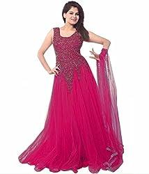 Clickedia Women's Net B019QJ6HSE (Dark Pink Net Gown _Dark Pink_)