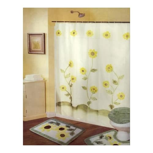sets w curtains sunflower bathroom rug set bathroom accessory sets